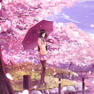 Preview wallpaper girl, umbrella, sakura, anime, art, cartoon