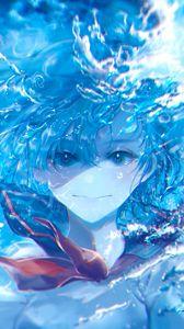 Preview wallpaper girl, underwater, water, anime, art, blue
