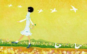 Preview wallpaper girl, walking, drawing, nature