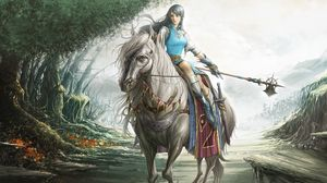Preview wallpaper girl, warrior, horse, weapons, road, trees