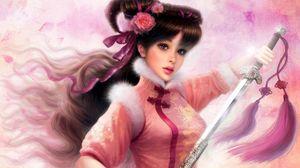 Preview wallpaper girl, warrior, sword, vintage
