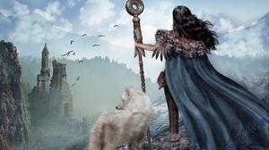 Preview wallpaper girl, warrior, wolf, mountains, ruins