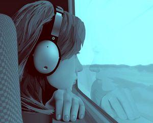 Preview wallpaper girl, window, guy, alone, headphones, screen