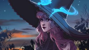 Preview wallpaper girl, witch, hat, cat, ghost, art