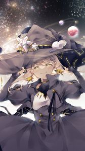 Preview wallpaper girl, witch, hat, space, magic, anime