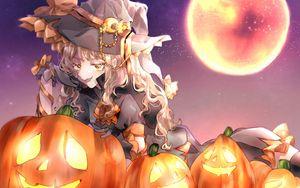 Preview wallpaper girl, witch, hat, pumpkin, halloween, anime