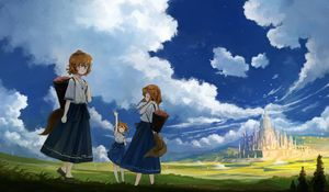 Preview wallpaper girls, friends, hike, anime