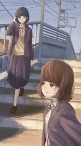 Preview wallpaper girls, friends, stairs, anime, art