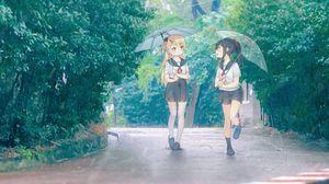Preview wallpaper girls, friends, umbrellas, anime, art