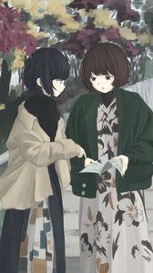 Preview wallpaper girls, friends, walk, anime, art