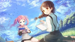 Preview wallpaper girls, tail, wind, picnic, thermos, sky, birds