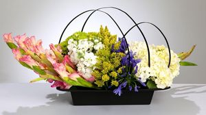 Preview wallpaper gladiolus, hydrangea, freesia, flowers, basket, composition