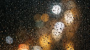 Preview wallpaper glass, drops, bokeh, rain, wet, surface, lights