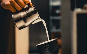 Preview wallpaper glass, milk, teapot, hand
