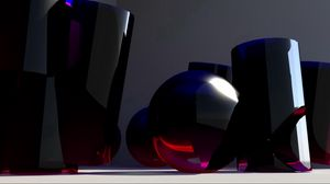 Preview wallpaper glass, shape, blue, 3d