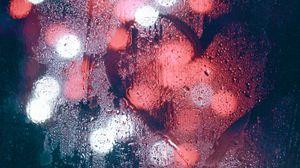 Preview wallpaper glass, wet, heart, lights, blur