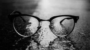 Preview wallpaper glasses, black, close-up, dark