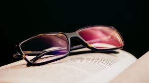 Preview wallpaper glasses, diopters, lenses, book