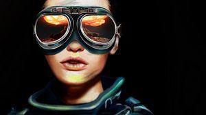 Preview wallpaper glasses, portrait, aviator, reflection