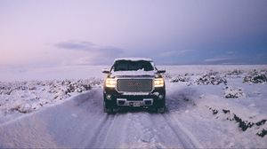 Preview wallpaper gmc sierra, gmc, pickup, suv, black, front view, snow, winter, offroad