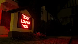 Preview wallpaper god, love, phrase, words, neon