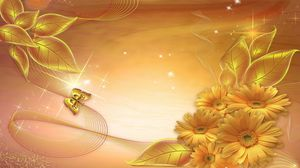 Preview wallpaper gold, background, lines, stars, leaves