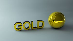 Preview wallpaper gold, letters, ball, surface