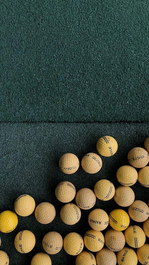 480x854 Wallpaper golf, balls, lawn, green, yellow