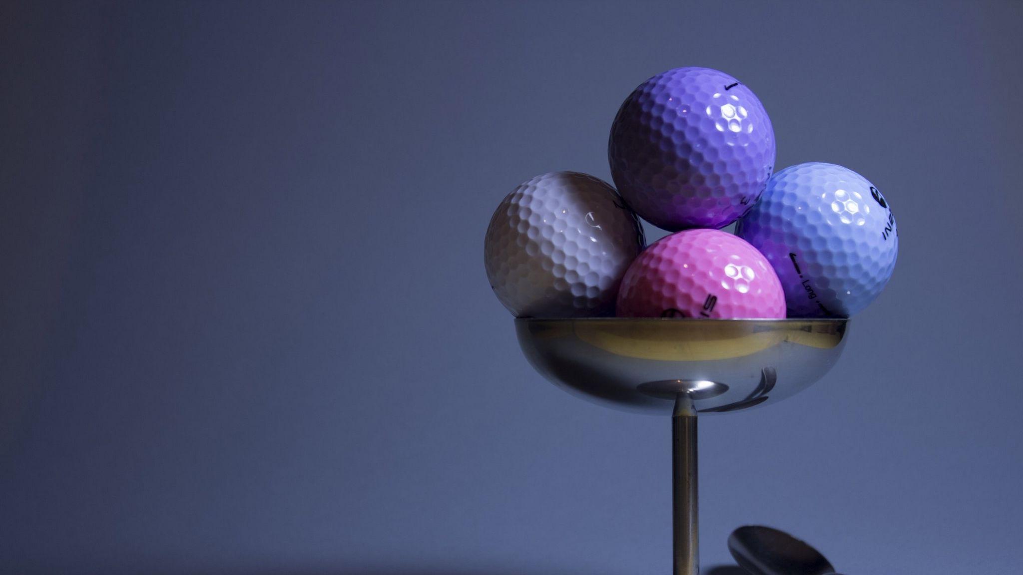 2048x1152 Wallpaper golf, golf balls, imitation, food