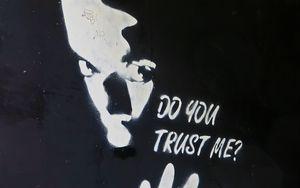 Preview wallpaper graffiti, art, bw, question, trust