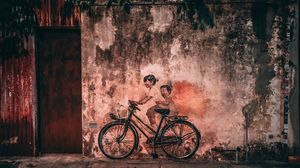 Preview wallpaper graffiti, bicycle, children, wall, old