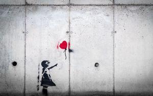 Preview wallpaper graffiti, child, balloon, love, street art