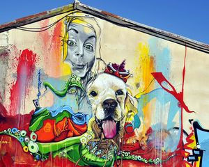 Preview wallpaper graffiti, girl, dog, art, street art, bright, colorful