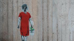 Preview wallpaper graffiti, girl, flower, bucket, wall, street art