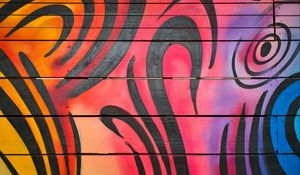 Preview wallpaper graffiti, lines, colorful, wall, boards, texture