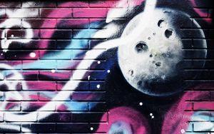 Preview wallpaper graffiti, wall, paint, colorful, brick