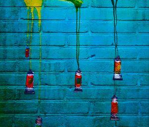 Preview wallpaper graffiti, paint, brick, tubes, wall