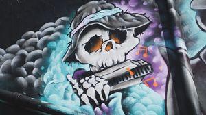 Preview wallpaper graffiti, skeleton, music, hat