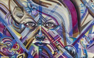 Preview wallpaper graffiti, street art, face, grunge