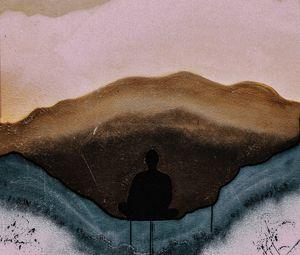 Preview wallpaper graffiti, street art, silhouette, wall, stains