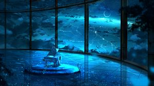 Preview wallpaper grand piano, musical instrument, room, particles