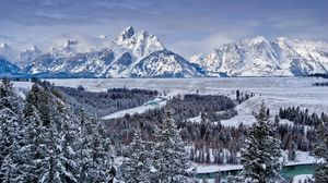 Preview wallpaper grand teton national park, united states, mountains, valley, snow