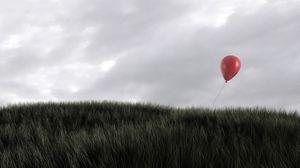 Preview wallpaper grass, wind, sky, balloon, red
