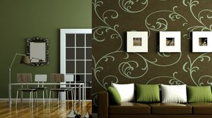 Preview wallpaper green, flat, brown, interior, style, design