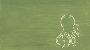 Preview wallpaper green, octopus, drawing