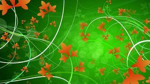 Preview wallpaper green, orange, flowers, patterns, leaves