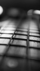 Preview wallpaper guitar, fretboard, strings, music, black and white
