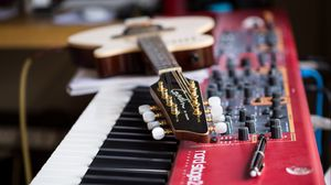 Preview wallpaper guitar, fretboard, synthesizer, musical instruments, music
