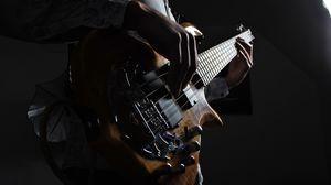 Preview wallpaper guitar, guitarist, musical instrument, strings, bass guitar, dark