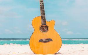 Preview wallpaper acoustic guitar, guitar, instrument, beach, summer, music